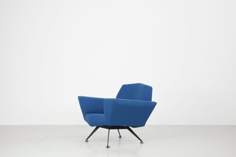 Pair of Italian Blue and Violet Armchairs by Lenzi, Studio Tecnico, Italy, 1950s For Sale 3
