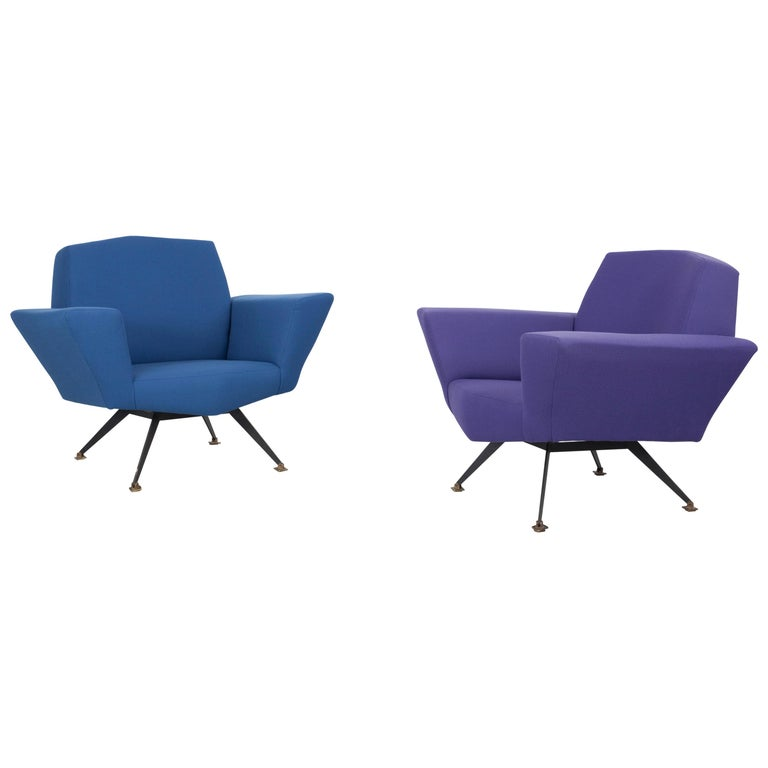 Pair of Italian Blue and Violet Armchairs by Lenzi, Studio Tecnico, Italy, 1950s For Sale