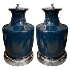 Pair of Italian Blue Porcelain Lamps