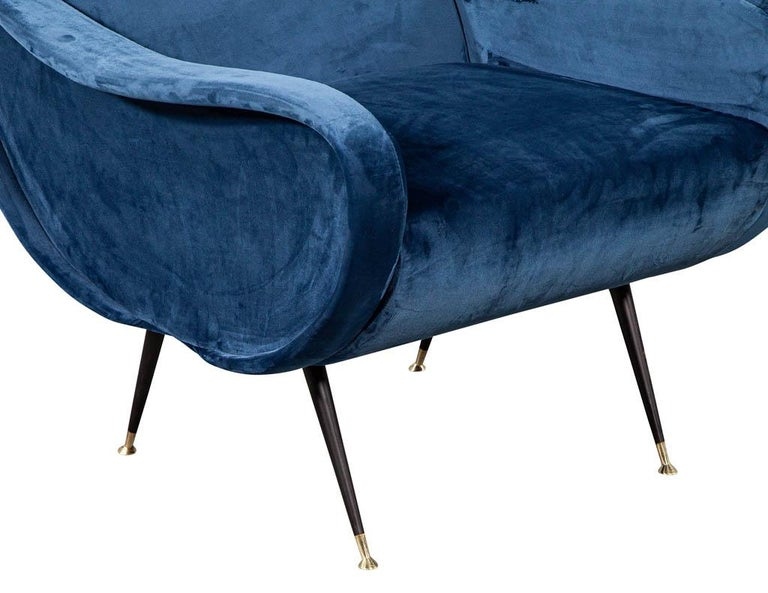 Pair of Italian Blue Velvet Lounge Chairs Attributed to Zanuso Style For Sale 5