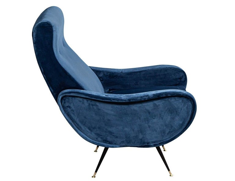 Pair of Italian Blue Velvet Lounge Chairs Attributed to Zanuso Style For Sale 6