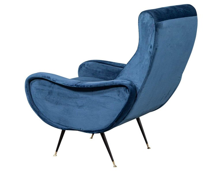 Metal Pair of Italian Blue Velvet Lounge Chairs Attributed to Zanuso Style For Sale