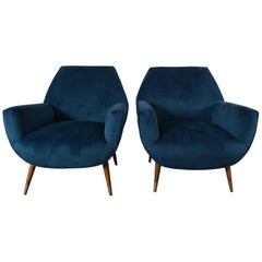 Pair of Italian Blue Velvet Mid-Century Modern Lounge Chairs