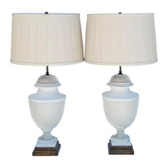 Pair of Italian Braided Ceramic Lamps With Gilded Base
