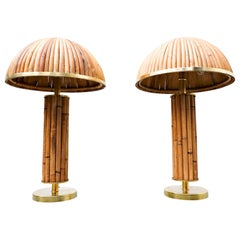 Pair of Italian Brass and Bamboo Table Lamp
