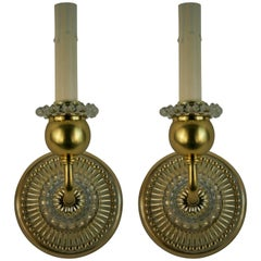 Pair of Italian Mid Century Brass and Bubble Glass Single Light Sconces