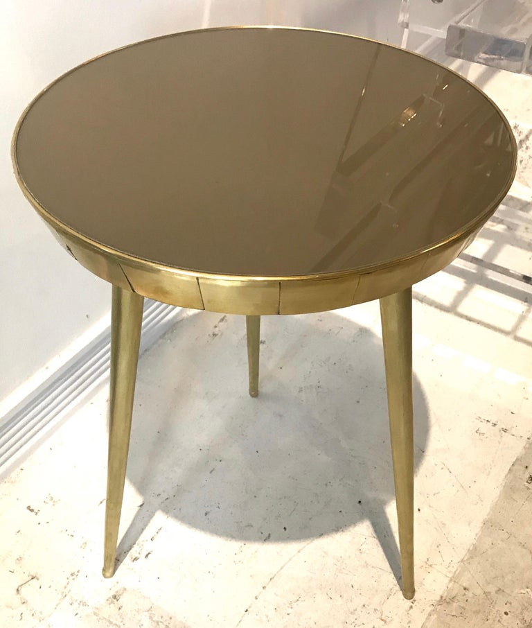 Pair of Italian Brass and Glass Accent Tables In Good Condition For Sale In Miami, FL