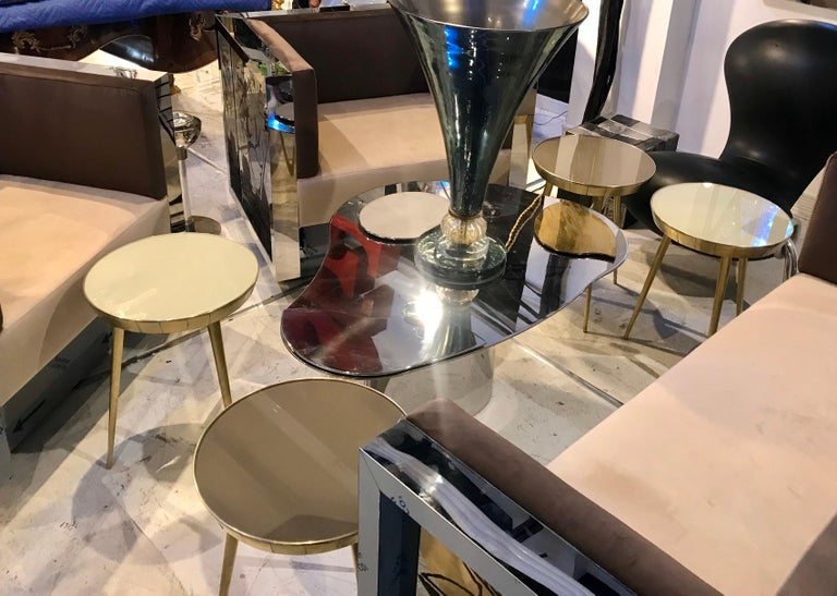 Pair of Italian Brass and Glass Accent Tables For Sale 2