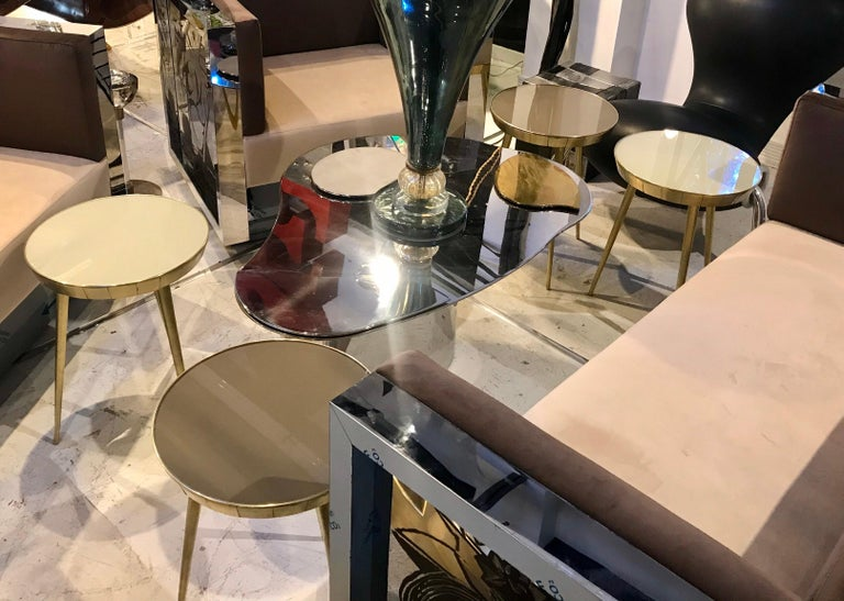 Pair of Italian Brass and Glass Accent Tables For Sale 3