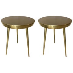 Pair of Italian Brass and Glass Accent Tables