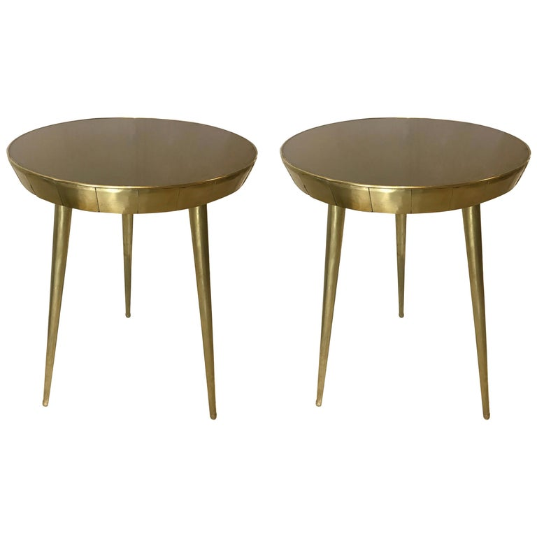 Pair of Italian Brass and Glass Accent Tables For Sale