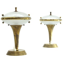 Pair of Italian Brass and Glass Bedside Lamps, 1950s