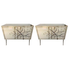 Pair of Italian Brass and Glass Side Chests