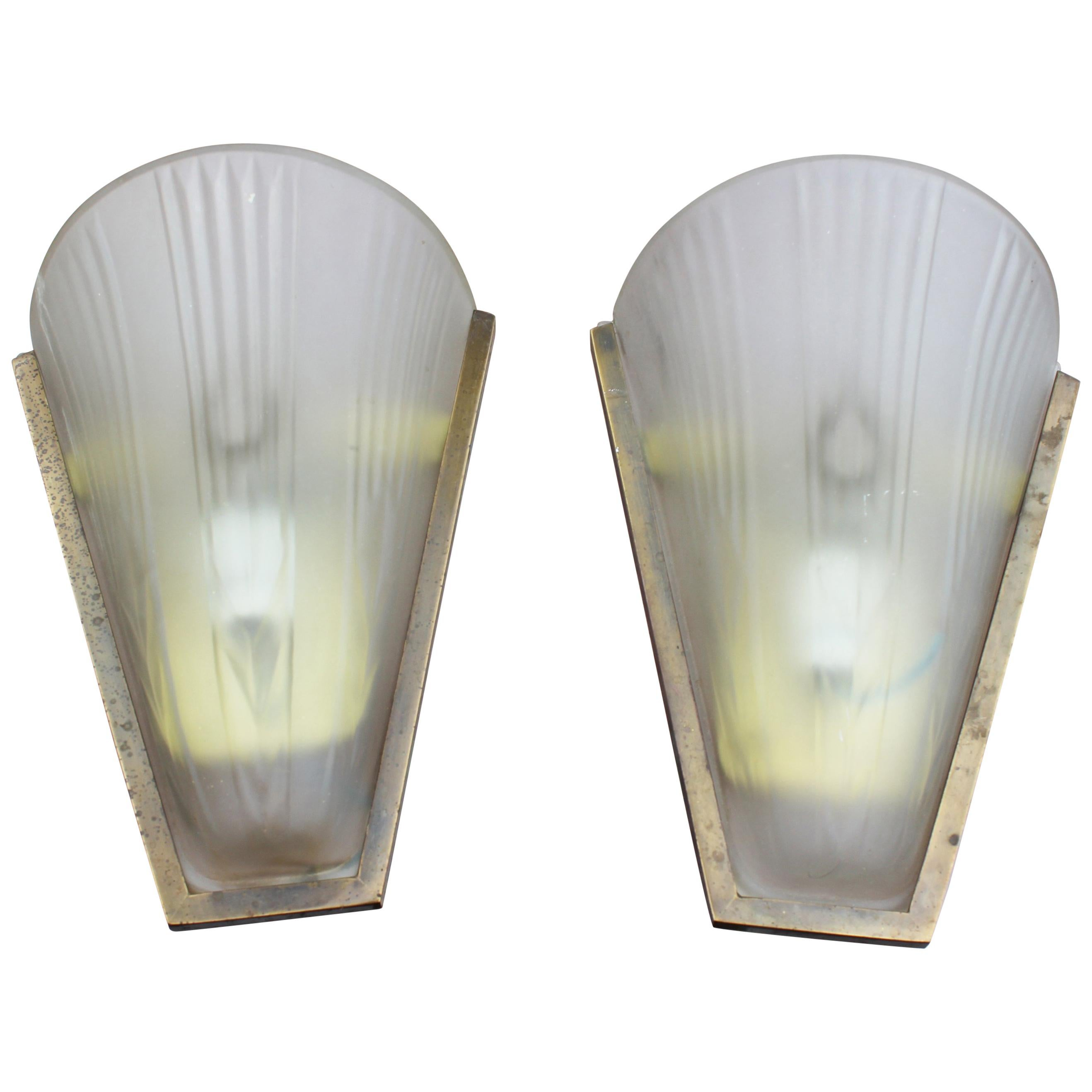 Pair of Italian Brass and Glass Wall Lamps, 1950s