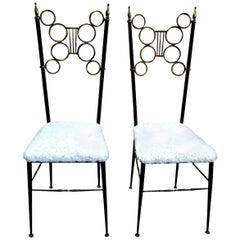 Pair of Italian Brass and Iron Chiavari Chairs