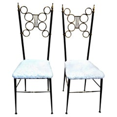 Pair of Italian Brass and Iron Chiavari Chairs