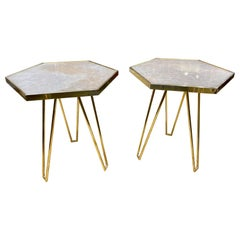 Pair of Italian Brass and Onyx Hex Form Side Tables