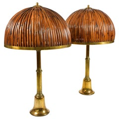 Pair of Italian Brass and Rattan Tall Table Lamps