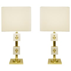 Pair of Italian Brass and White Glass Cubes Table Lamps