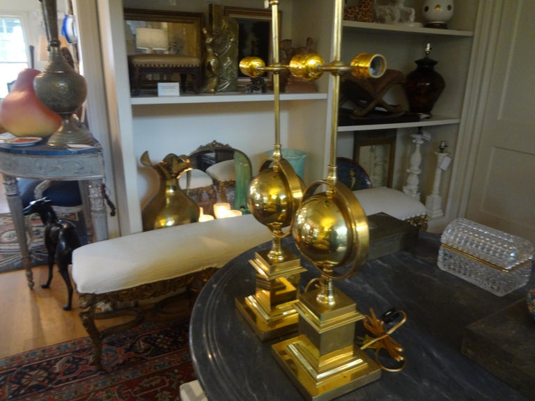 Pair of Italian Brass Armillary Lamps For Sale 5