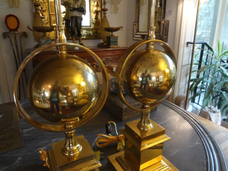Pair of Italian Brass Armillary Lamps In Good Condition For Sale In Houston, TX