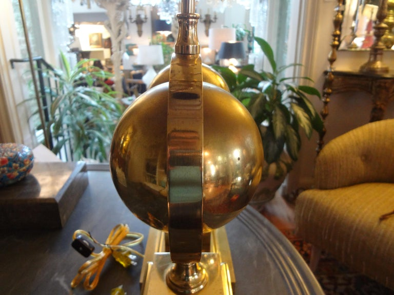 Mid-20th Century Pair of Italian Brass Armillary Lamps For Sale