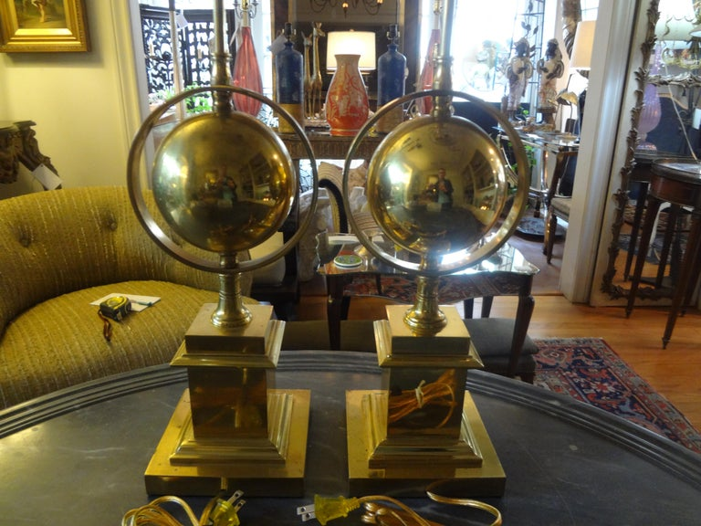 Pair of Italian Brass Armillary Lamps For Sale 2