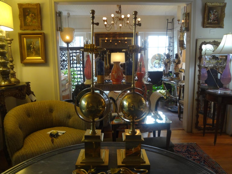 Pair of Italian Brass Armillary Lamps For Sale 3