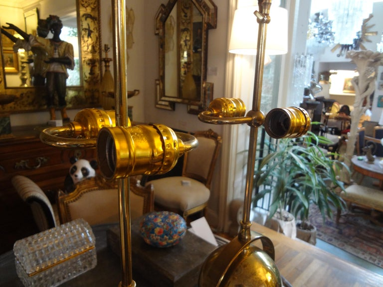 Pair of Italian Brass Armillary Lamps For Sale 4
