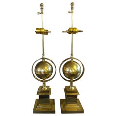 Pair of Italian Brass Armillary Lamps
