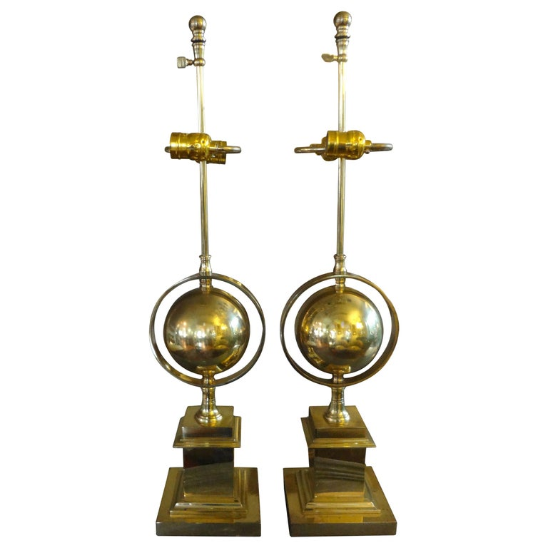 Pair of Italian Brass Armillary Lamps For Sale