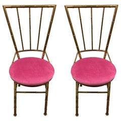 Pair of Italian Brass Bamboo Side Chairs