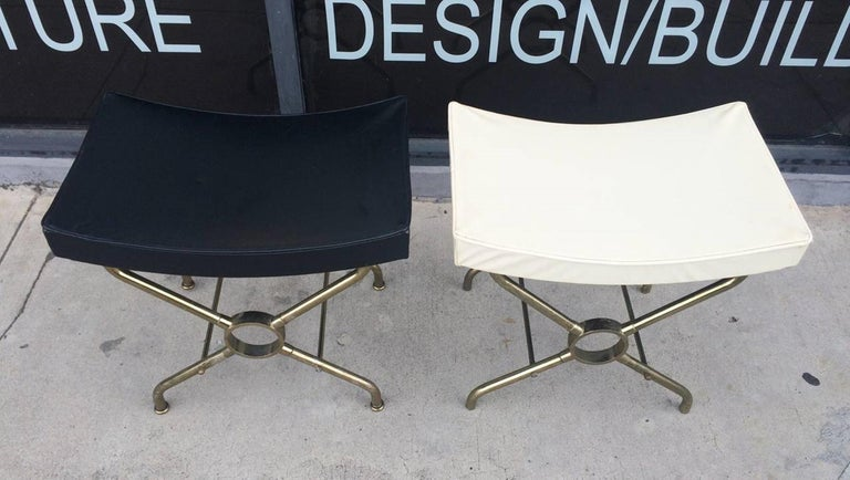 Mid-Century Modern Pair of Italian Brass Benches For Sale