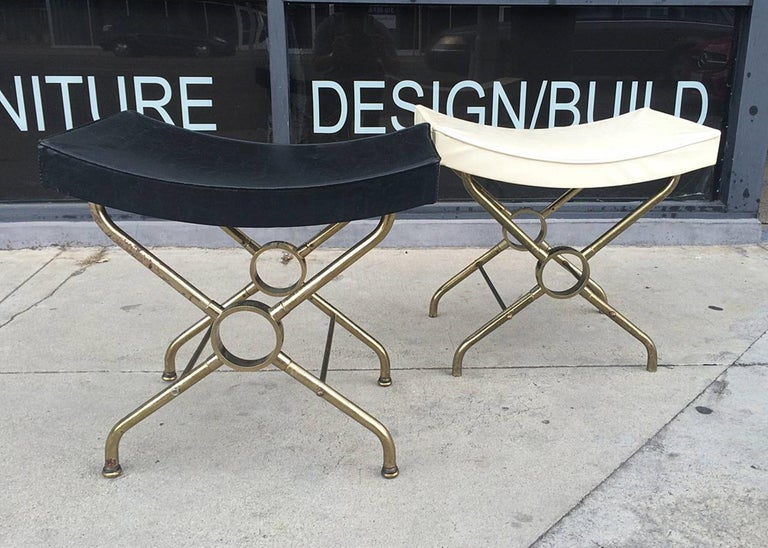 Late 20th Century Pair of Italian Brass Benches For Sale