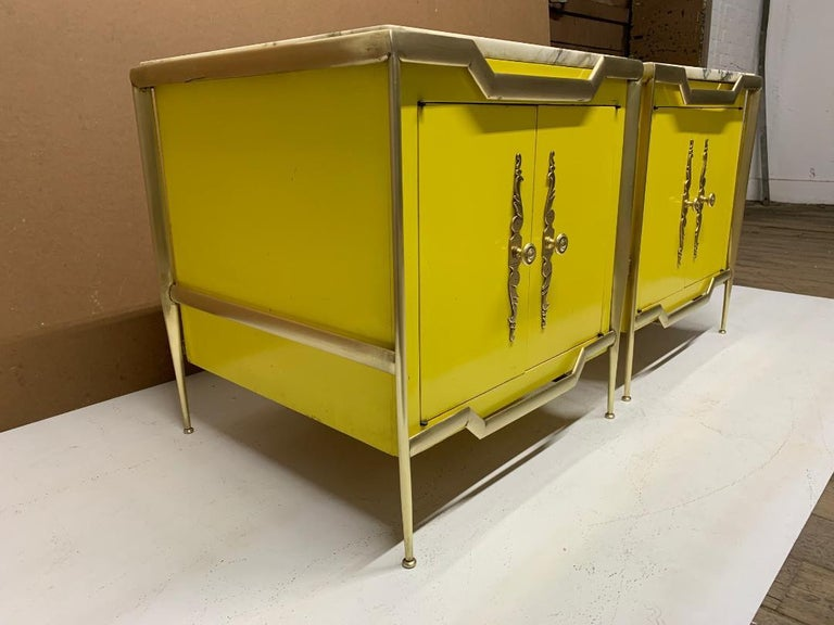 Mid-Century Modern Pair of Italian Brass Cabinets with Marble Tops For Sale