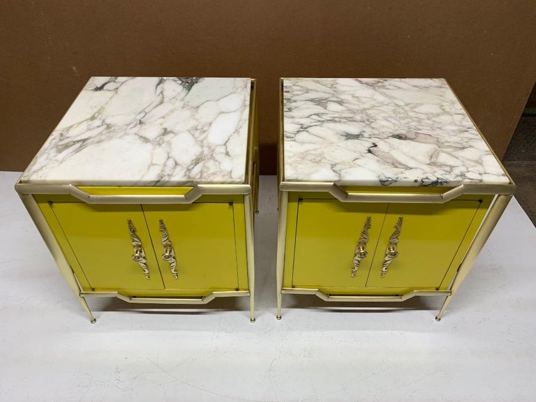 Painted Pair of Italian Brass Cabinets with Marble Tops For Sale