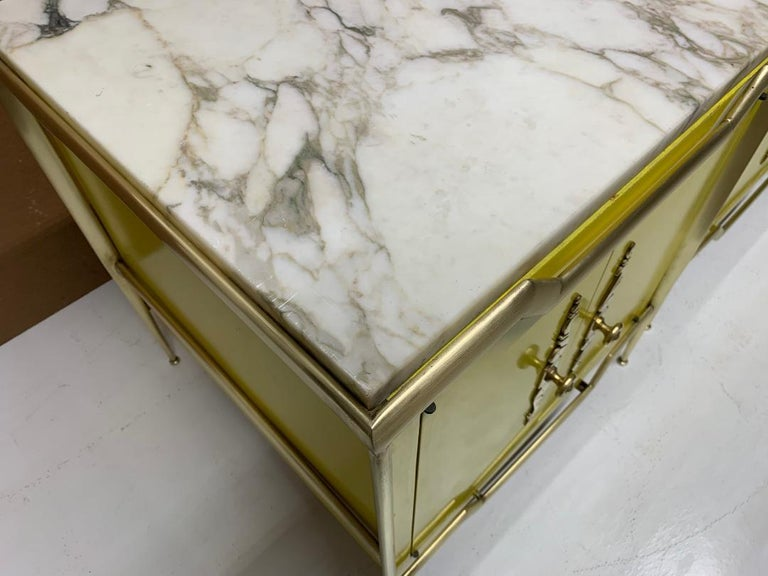 Mid-20th Century Pair of Italian Brass Cabinets with Marble Tops For Sale