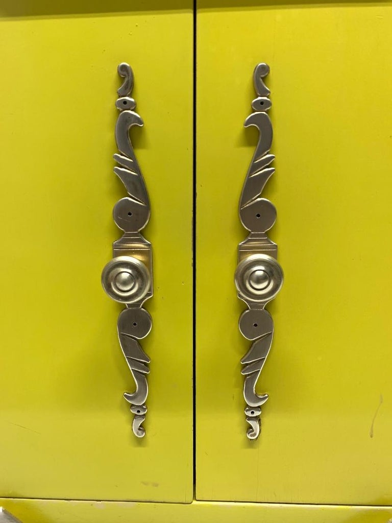 Wood Pair of Italian Brass Cabinets with Marble Tops For Sale