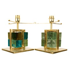 Pair of Italian Brass Cage Murano Glass Cube Lamps, Contemporary
