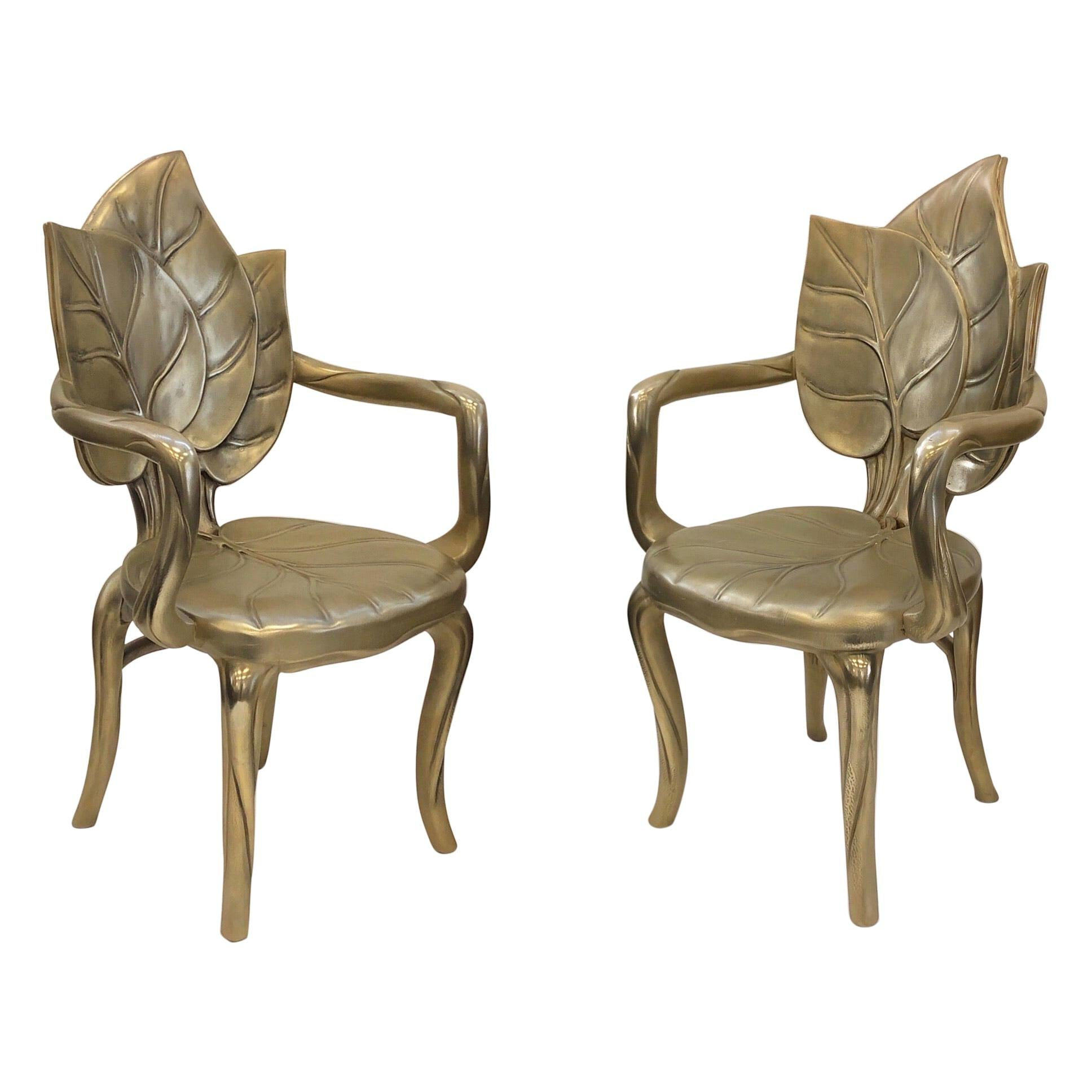 Pair of Italian Brass Carved Wooden Leaf Armchairs by Bartolozzi and Maioli