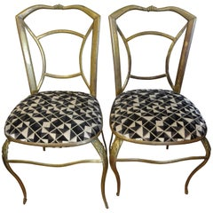 Pair of Italian Brass Chairs Inspired by Gio Ponti
