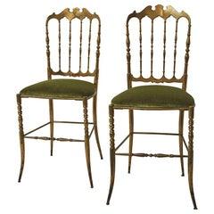 Pair of Italian Brass Chiavari Chairs, c. 1950 Upholstered in Schumacher Fabric