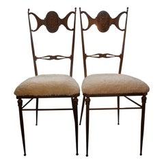 Pair of Italian Brass Chiavari Chairs