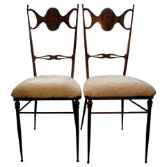 Pair of Italian Brass Chiavari Chairs
