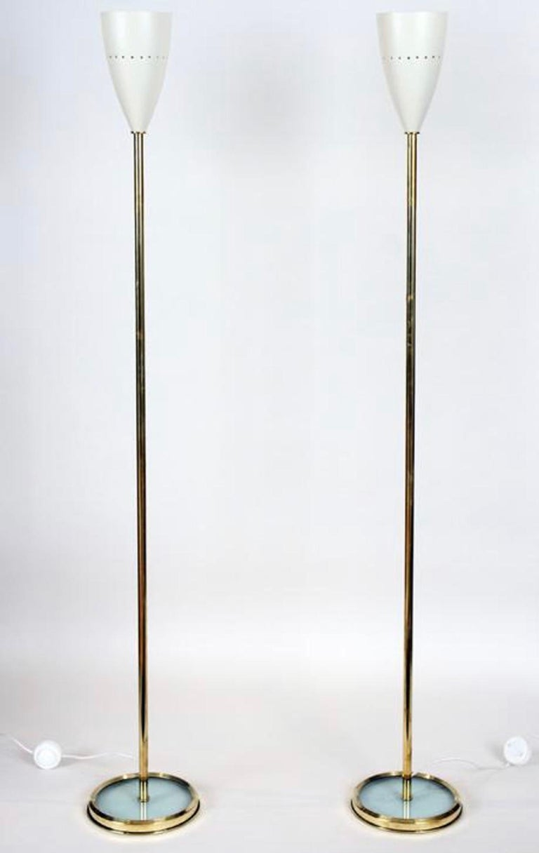 20th Century Pair of Italian Brass Floor Lamps with Metal Shades For Sale