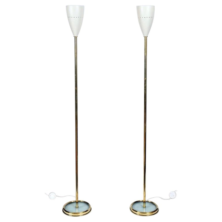 Pair of Italian Brass Floor Lamps with Metal Shades For Sale