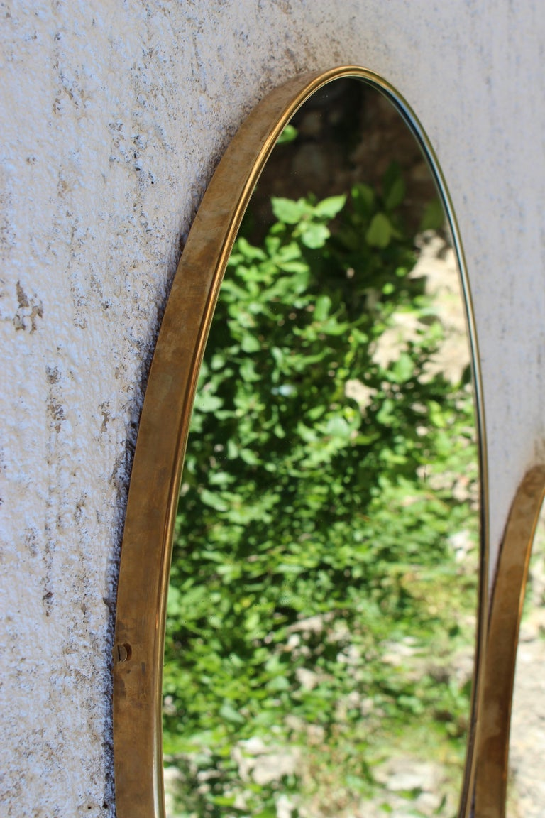 Pair of Italian Brass Mirrors In Good Condition For Sale In Los Angeles, CA