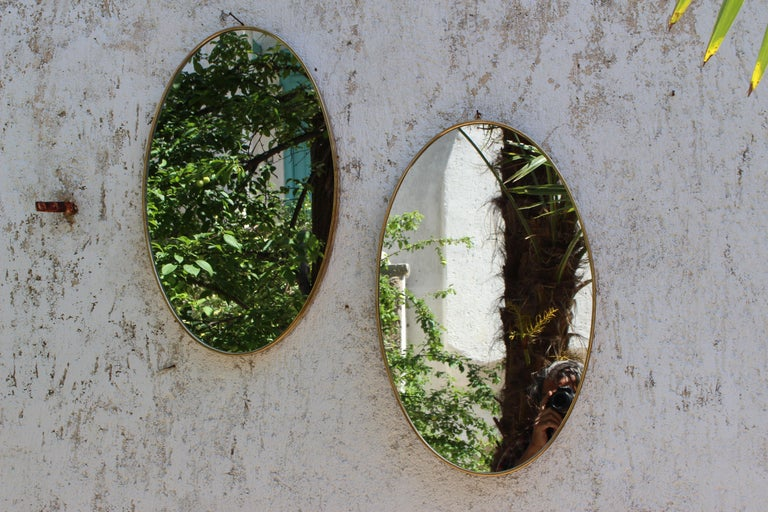 Mid-20th Century Pair of Italian Brass Mirrors For Sale