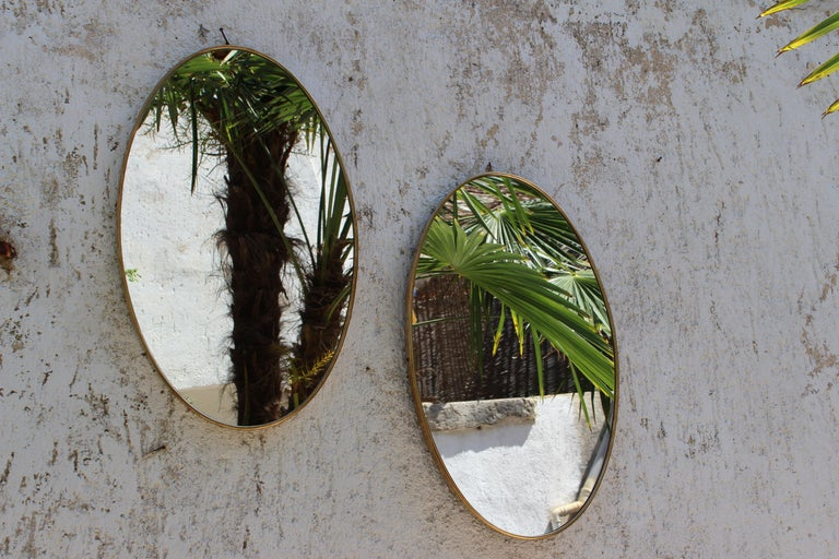 Pair of Italian Brass Mirrors For Sale 1