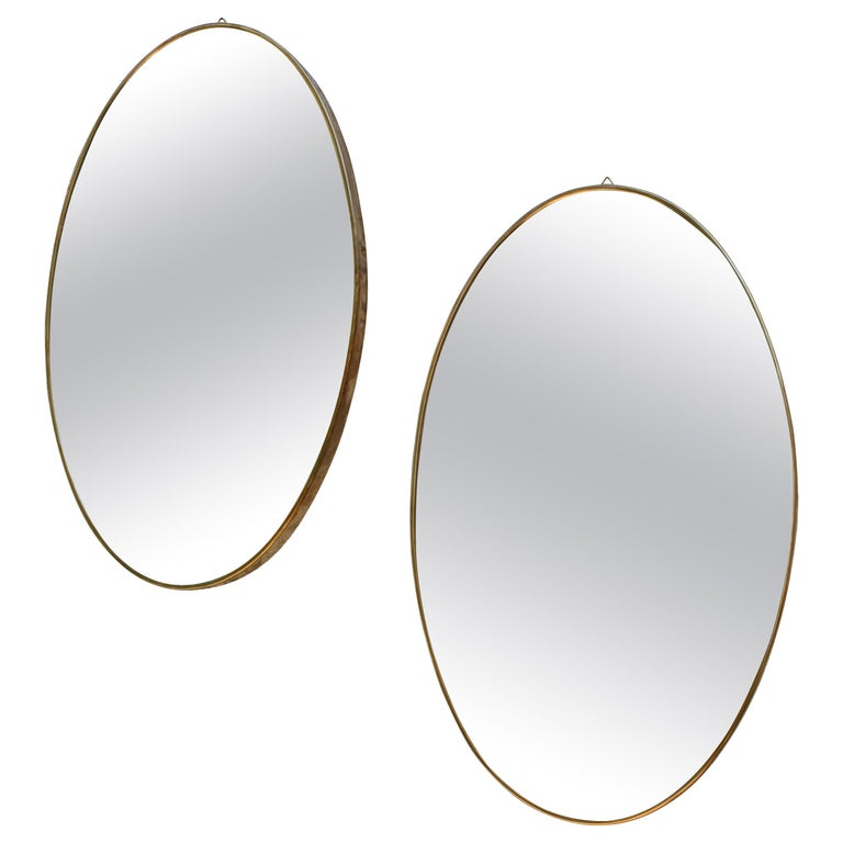 Pair of Italian Brass Mirrors For Sale